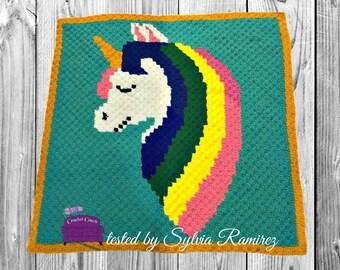 Unicorn Head Afghan C2C Crochet Pattern, Written Row Counts, C2C Graphs, Corner to Corner Crochet Pattern, Graphgan, Unicorn C2C Graph