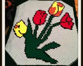 Tulip Afghan, C2C Crochet Pattern, Written Row Counts, C2C Graphs, Corner to Corner, Crochet Pattern, C2C Graph