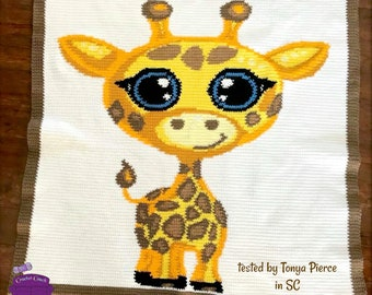 Baby Giraffe Afghan, sc Crochet Pattern, tss Crochet Pattern, Written Row by Row, Color Counts, Instant Download, sc Graph, tss Graph