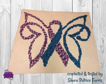 Butterfly Ribbon Afghan, C2C Crochet Pattern, Written Row by Row, Color Counts, Instant Download, C2C Graph, C2C Pattern