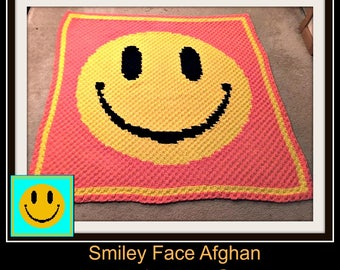 Smiley Face Afghan, C2C Crochet Pattern, Written Row Counts, C2C Graphs, Corner to Corner, Crochet Pattern, C2C Graph