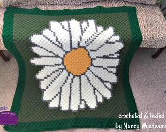 Daisy Afghan, C2C Crochet Pattern, Written Row Counts, C2C Graphs, Corner to Corner, Crochet Pattern, C2C Graph