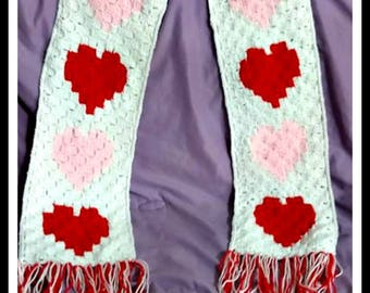 Hearts Scarf, C2C Crochet Pattern, Written Row Counts, C2C Graphs, Corner to Corner, Crochet Pattern, C2C Graph