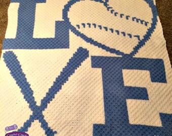 Love Baseball with Bats Afghan, C2C Crochet Pattern, Written Row Counts, C2C Graphs, Corner to Corner, Crochet Pattern, C2C Graph