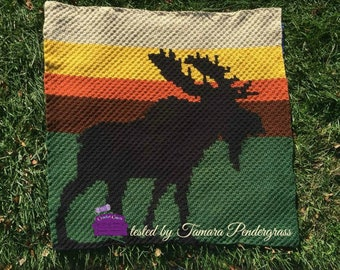 Moose at Sunset Afghan, C2C Crochet Pattern, Written Row Counts, C2C Graphs, Corner to Corner, Crochet Pattern, C2C Graph