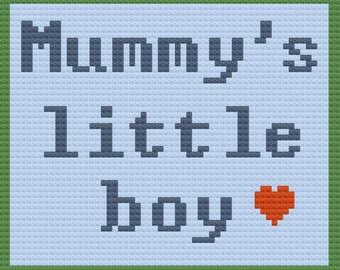 Mummy's Little Boy Afghan, C2C Crochet Pattern, Written Row by Row, Color Counts, Instant Download, C2C Graph, C2C Pattern, Graphgan Pattern