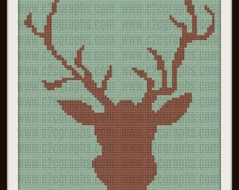 Deer Head Afghan, C2C Crochet Pattern, Written Row Counts, C2C Graphs, Corner to Corner, Crochet Pattern, C2C Graph