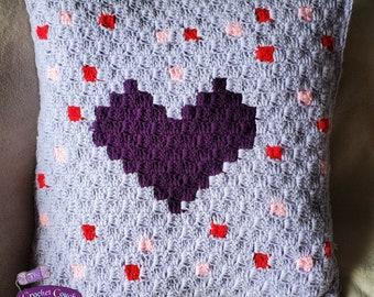 Polka Heart Pillow, C2C Crochet Pattern, Written Row by Row, Color Counts, Instant Download, C2C Graph, C2C Pattern, Crochet Pillow