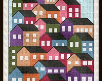 C2C Graph, Crowded Houses Afghan, Written Word Chart, Quilt Graph, Quilt C2C