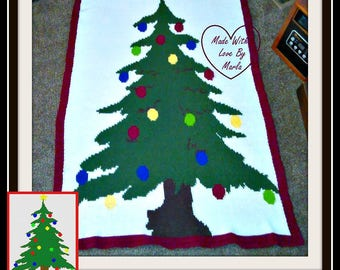 Christmas Tree Afghan, sc Crochet Pattern, tss Crochet Pattern, Written Row by Row, Color Counts, Instant Download, sc Graph, tss Graph