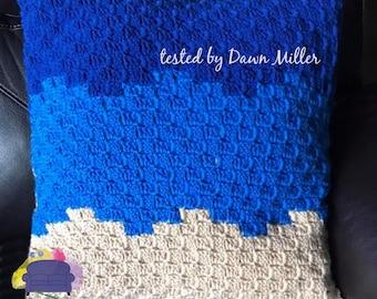 Shoreline Pillow, C2C Crochet Pattern, Written Row by Row, Color Counts, Instant Download, C2C Graph, C2C Pattern, Crochet Pillow