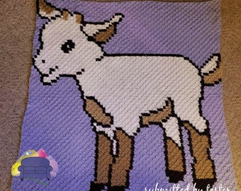 Kid Afghan, Baby Goat Afghan, C2C Crochet Pattern, Written Row by Row, Color Counts, Instant Download, C2C Graph, C2C Pattern, Graphgan