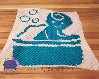 Bathing Baby Afghan, C2C Crochet Pattern, Written Row by Row, Color Counts, Instant Download, C2C Graph, C2C Pattern, C2C Crochet, Graphgan