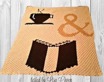 Coffee and a Book Afghan, C2C Crochet Pattern, Written Row Counts, C2C Graphs, Corner to Corner, Crochet Pattern, C2C Graph
