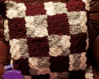 Shaded Squares Pillow, C2C Crochet Pattern, Written Row by Row, Color Counts, Instant Download, C2C Graph, C2C Pattern, Crochet Pillow