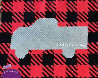 Truck Buffalo Plaid Afghan, C2C Crochet Pattern, Written Row by Row, Color Counts, Instant Download, C2C Graph, C2C Pattern, Graphgan