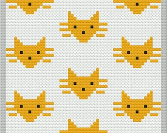 Cat Faces Kids Afghan, C2C Crochet Pattern, Written Row by Row, Color Counts, Instant Download, C2C Graph, C2C Pattern, Graphgan Pattern
