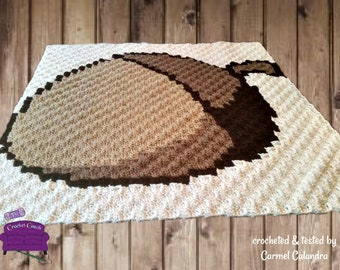 Acorn Square, C2C Crochet Pattern, Written Row Counts, C2C Graphs, Corner to Corner, Crochet Pattern, C2C Graph