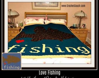 Love Fishing, Crochet Pattern, C2C Graph