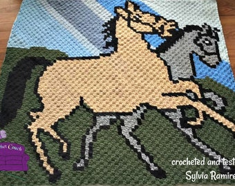 Pair of Horse Afghan, C2C Crochet Pattern, Written Row by Row, Color Counts, Instant Download, C2C Graph, C2C Pattern, Corner to Corner