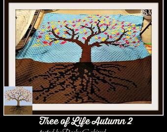 Tree of Life Autumn 2 Afghan, C2C Crochet Pattern, Written Row Counts, C2C Graphs, Corner to Corner, Crochet Pattern, C2C Graph