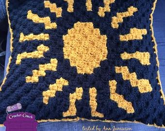 Gaudy Gold Pillow, C2C Crochet Pattern, Written Row by Row, Color Counts, Instant Download, C2C Graph, C2C Pattern, Crochet Pillow