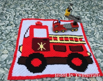 Firetruck Afghan C2C Crochet Pattern, Written Row by Row Counts, C2C Graphs, Corner to Corner Crochet Pattern, Graphgan, Firetruck Kids C2C