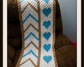 Heart Panel Afghan, C2C Crochet Pattern, Written Row Counts, C2C Graphs, Corner to Corner, Crochet Pattern, C2C Graph