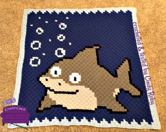 Shark Baby Afghan, C2C Crochet Pattern, Written Row by Row, Color Counts, Instant Download, C2C Graph, C2C Pattern, Graphgan Pattern