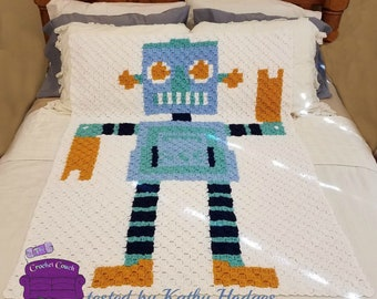 Robot Baby Afghan, C2C Crochet Pattern, Written Row Counts, C2C Graphs, Corner to Corner, Crochet Pattern, C2C Graph