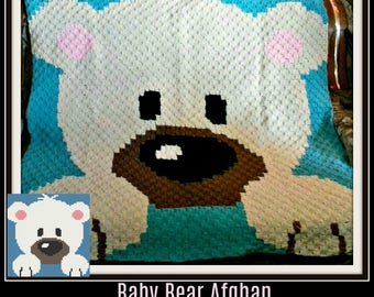 Baby Bear Afghan, C2C Crochet Pattern, Written Row Counts, C2C Graphs, Corner to Corner, Crochet Pattern, C2C Graph
