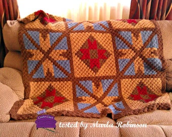 Diamond Quilt Afghan C2C Crochet Pattern, Written Row Counts, C2C Graphs, Corner to Corner Crochet Pattern, Graphgan, Quilt C2C Graph