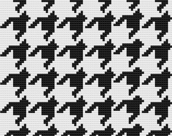 Houndstooth Afghan, C2C Crochet Pattern, Written Row by Row, Color Counts, Instant Download, C2C Graph, C2C Pattern, Graphgan Pattern