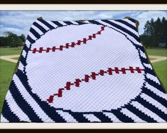 Baseball Stripes Afghan, C2C Crochet Pattern, Written Row Counts, C2C Graphs, Corner to Corner, Crochet Pattern, C2C Graph