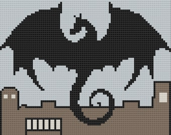 Dragon over the Castle Afghan, C2C Crochet Pattern, Written Row by Row, Color Counts, Instant Download, C2C Graph, C2C Pattern