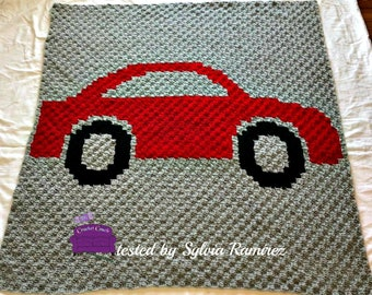 Car Afghan, C2C Graph, Written Word Chart