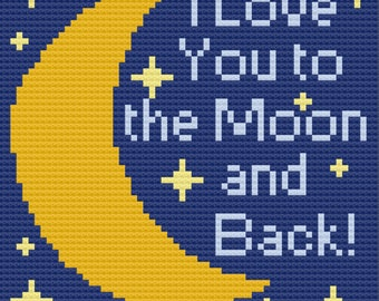 Moon and Back with Stars Afghan, C2C Crochet Pattern, Written Row by Row, Color Counts, Instant Download, C2C Graph, C2C Pattern