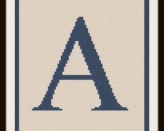 Letter A Twin Afghan C2C Crochet Pattern, Written Row by Row Counts, C2C Graphs, Corner to Corner Crochet Pattern, Graphgan Letter A Crochet