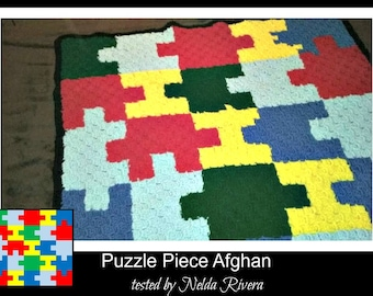 Puzzle Piece Throw, C2C Crochet Pattern, Written Row Counts, C2C Graphs, Corner to Corner, Crochet Pattern, C2C Graph