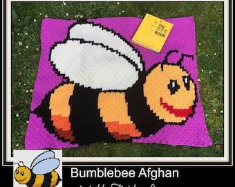 Bumblebee Kids Afghan, C2C Graph, Written Word Chart