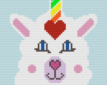 Llama Unicorn Afghan, C2C Crochet Pattern, Written Row by Row, Color Counts, Instant Download, C2C Graph, C2C Pattern, Graphgan Pattern