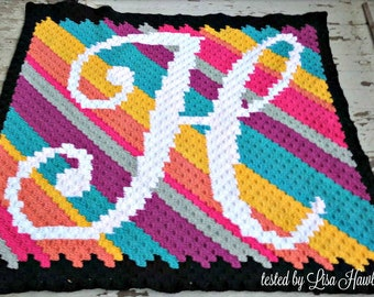 Letter H Kids Blanket, C2C Crochet Pattern, Written Row Counts, C2C Graphs, Corner to Corner, Crochet Pattern, C2C Graph