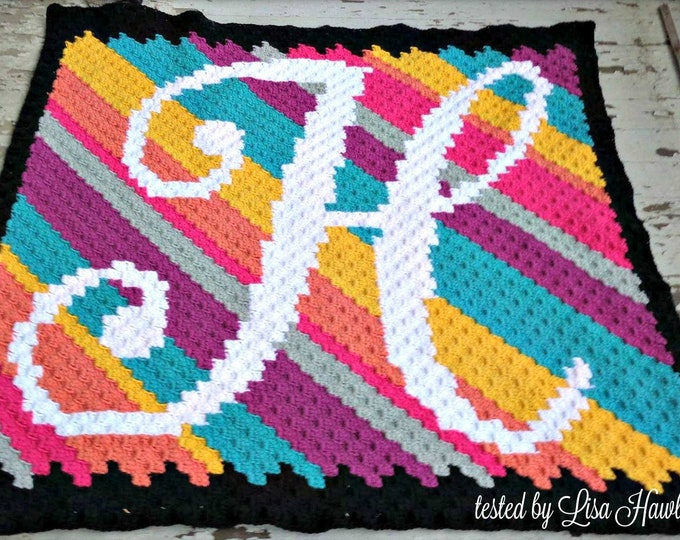 Featured listing image: Letter H Kids Afghan C2C Crochet Pattern, Written Row by Row Counts, C2C Graphs, Corner to Corner Crochet Pattern, Graphgan, Letter H C2C