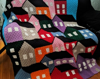 Crowded Houses Blanket, C2C Crochet Pattern, Written Row Counts, C2C Graphs, Corner to Corner, Crochet Pattern, C2C Graph