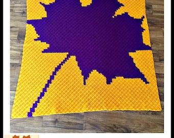 Maple Leaf Afghan, C2C Crochet Pattern, Written Row Counts, C2C Graphs, Corner to Corner, Crochet Pattern, C2C Graph