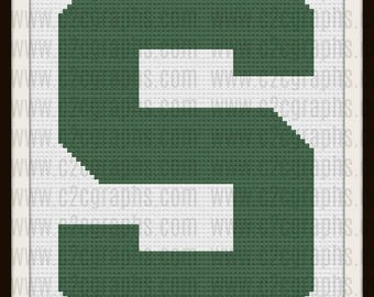 Letter S Block Afghan, C2C Crochet Pattern, Written Row Counts, C2C Graphs, Corner to Corner, Crochet Pattern, C2C Graph