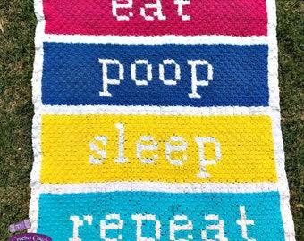 Eat Poop Sleep Repeat Baby Afghan, C2C Crochet Pattern, Written Row Counts, C2C Graphs, Corner to Corner, Crochet Pattern, C2C Graph