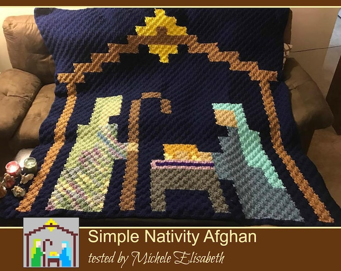 Featured listing image: Nativity Pixel Afghan, C2C Crochet Pattern, Written Row Counts, C2C Graphs, Corner to Corner, Crochet Pattern, C2C Graph
