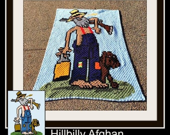 Hillbilly Afghan, Crochet Pattern, C2C Graph, Includes Row by Row Word Chart