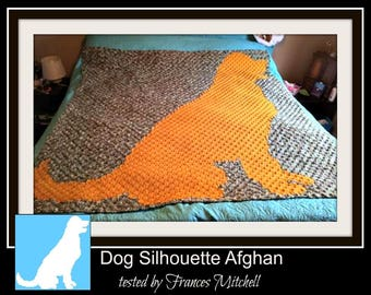 Dog Silhouette Afghan, C2C Graph, and Written Word Chart